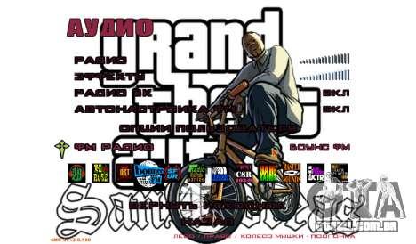 Novo menu para GTA San Andreas quinto tela