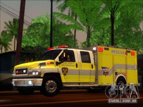 GMC C4500 Topkick BCFD Rescue 4 para GTA San Andreas vista traseira