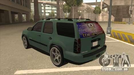 Chevrolet Tahoe Sound Car The Adiccion para GTA San Andreas vista traseira