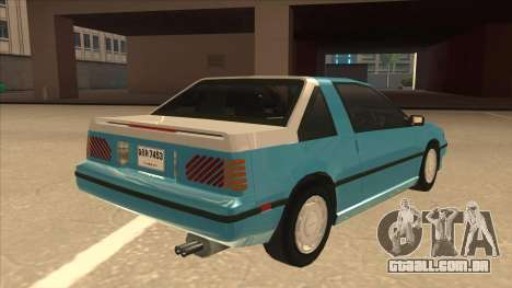 Nissan EXA L.A. Version para GTA San Andreas vista inferior