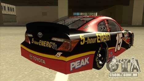 Toyota Camry NASCAR No. 15 5-hour Energy para GTA San Andreas vista direita