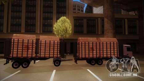 Caminhão semi-reboque madeira para frente de tre para GTA San Andreas traseira esquerda vista