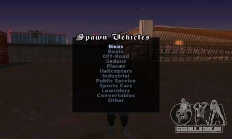 Cheat Menu para GTA San Andreas terceira tela