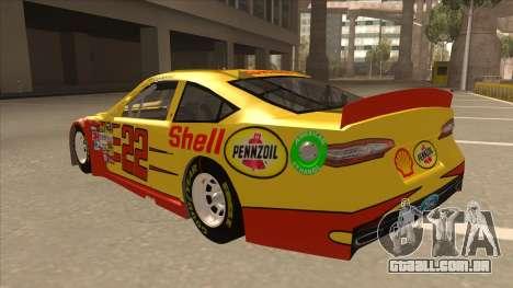 Ford Fusion NASCAR No. 22 Shell Pennzoil para GTA San Andreas vista traseira
