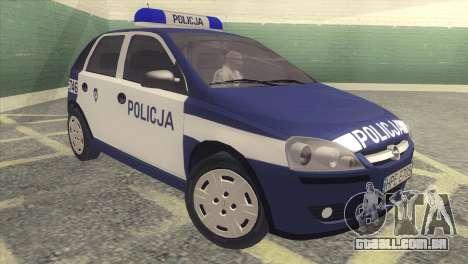 Opel Corsa C Policja para GTA San Andreas esquerda vista