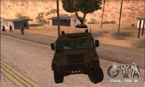 Hummer H1 do jogo Resident Evil 5 para GTA San Andreas traseira esquerda vista