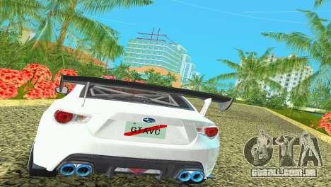 Subaru BRZ Type 4 para GTA Vice City vista traseira