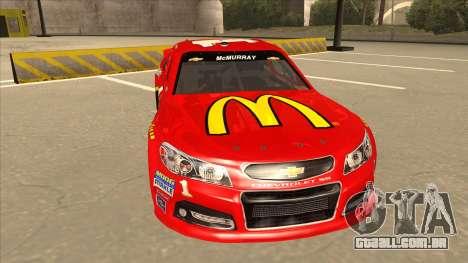 Chevrolet SS NASCAR No. 1 McDonalds para GTA San Andreas esquerda vista