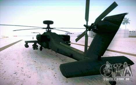 AH-64 Apache para GTA San Andreas esquerda vista