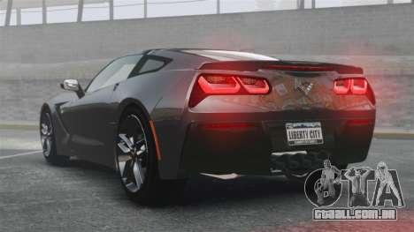 Chevrolet Corvette C7 Stingray 2014 para GTA 4 traseira esquerda vista