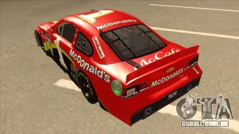 Chevrolet SS NASCAR No. 1 McDonalds para GTA San Andreas vista traseira