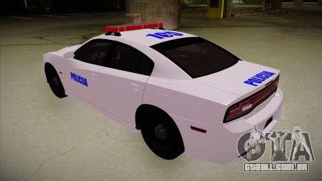Dodge Charger SRT8 Policija para GTA San Andreas vista traseira