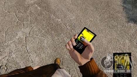 Temas para as redes móveis de marcas de telefone para GTA 4 por diante tela
