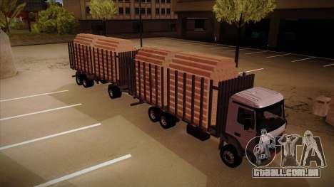 Caminhão semi-reboque madeira para frente de tre para GTA San Andreas vista direita