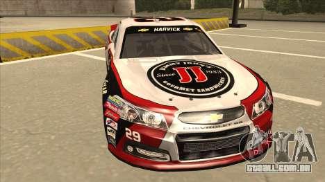 Chevrolet SS NASCAR No. 29 Jimmy Johns para GTA San Andreas esquerda vista