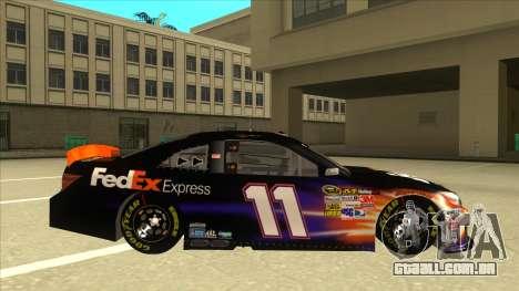 Toyota Camry NASCAR No. 11 FedEx Express para GTA San Andreas traseira esquerda vista