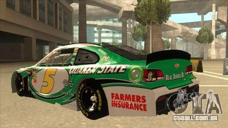 Chevrolet SS NASCAR No. 5 Quaker State para GTA San Andreas vista traseira
