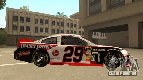 Chevrolet SS NASCAR No. 29 Jimmy Johns para GTA San Andreas traseira esquerda vista