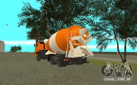 KAMAZ 6520 cimento para GTA San Andreas traseira esquerda vista