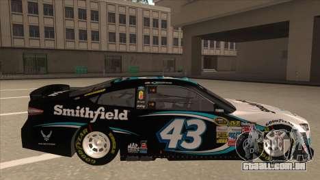 Ford Fusion NASCAR No. 43 Smithfield Foods para GTA San Andreas traseira esquerda vista