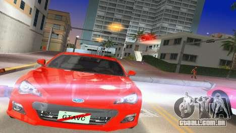 Subaru BRZ Type 1 para GTA Vice City vista traseira esquerda