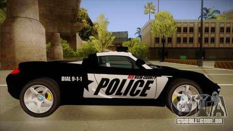 Porsche Carrera GT 2004 Police Black para GTA San Andreas traseira esquerda vista