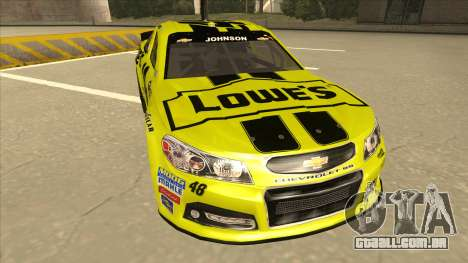 Chevrolet SS NASCAR No. 48 Lowes yellow para GTA San Andreas esquerda vista
