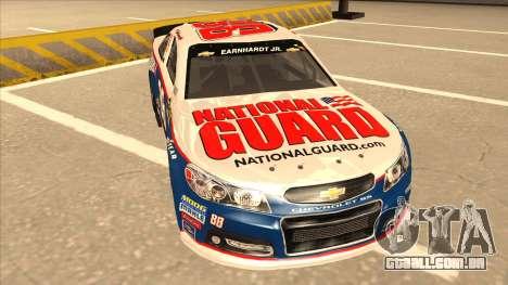 Chevrolet SS NASCAR No. 88 National Guard para GTA San Andreas esquerda vista