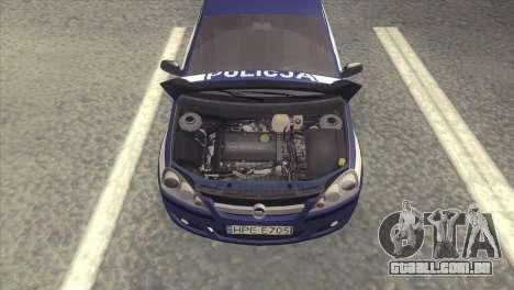 Opel Corsa C Policja para GTA San Andreas vista direita