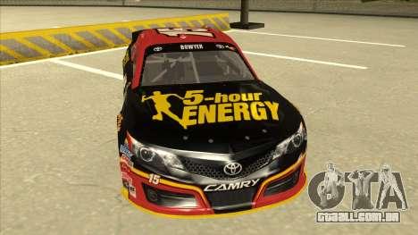 Toyota Camry NASCAR No. 15 5-hour Energy para GTA San Andreas esquerda vista