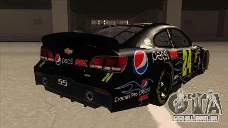 Chevrolet SS NASCAR No. 24 Pepsi Max AARP para GTA San Andreas vista direita