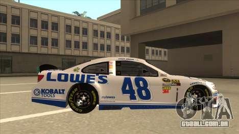 Chevrolet SS NASCAR No. 48 Lowes white para GTA San Andreas traseira esquerda vista
