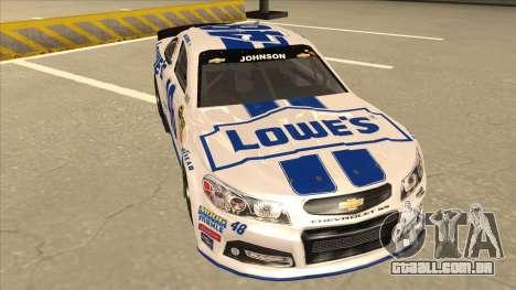 Chevrolet SS NASCAR No. 48 Lowes white para GTA San Andreas esquerda vista