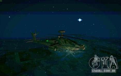AH-64 Apache para GTA San Andreas traseira esquerda vista