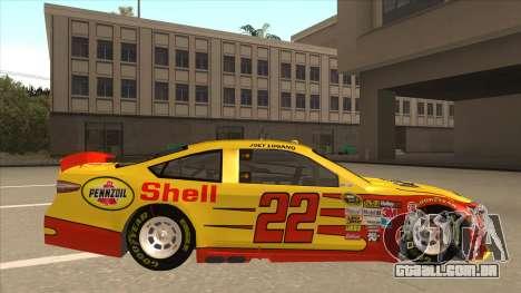 Ford Fusion NASCAR No. 22 Shell Pennzoil para GTA San Andreas traseira esquerda vista