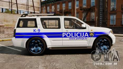 Nissan Pathfinder Croatian Police [ELS] para GTA 4 esquerda vista