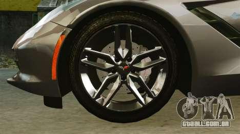 Chevrolet Corvette C7 Stingray 2014 para GTA 4 vista de volta