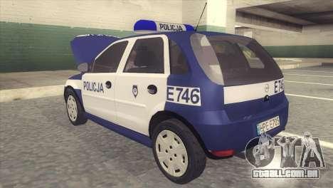 Opel Corsa C Policja para GTA San Andreas traseira esquerda vista