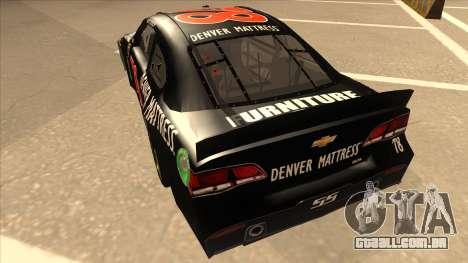 Chevrolet SS NASCAR No. 78 Furniture Row para GTA San Andreas vista traseira