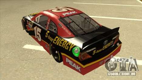 Toyota Camry NASCAR No. 15 5-hour Energy para GTA San Andreas vista traseira