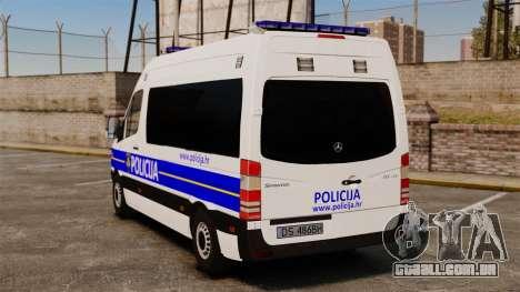 Mercedes-Benz Sprinter Croatian Police [ELS] para GTA 4 traseira esquerda vista