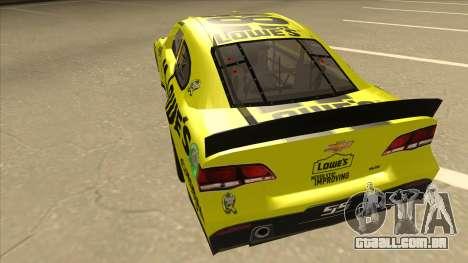 Chevrolet SS NASCAR No. 48 Lowes yellow para GTA San Andreas vista traseira