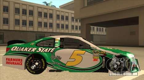 Chevrolet SS NASCAR No. 5 Quaker State para GTA San Andreas traseira esquerda vista