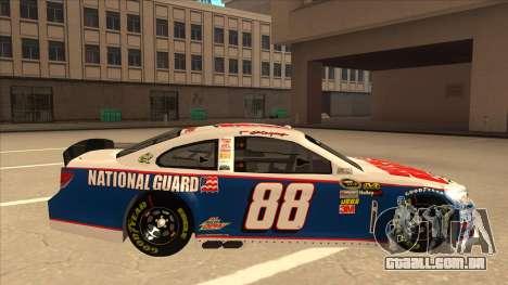 Chevrolet SS NASCAR No. 88 National Guard para GTA San Andreas traseira esquerda vista