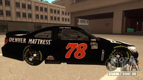 Chevrolet SS NASCAR No. 78 Furniture Row para GTA San Andreas traseira esquerda vista