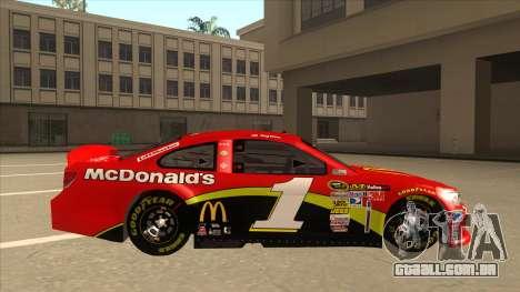 Chevrolet SS NASCAR No. 1 McDonalds para GTA San Andreas traseira esquerda vista