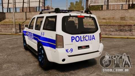 Nissan Pathfinder Croatian Police [ELS] para GTA 4 traseira esquerda vista