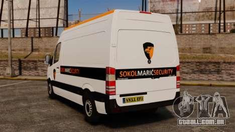 Mercedes-Benz Sprinter Sokol Maric Security para GTA 4 traseira esquerda vista
