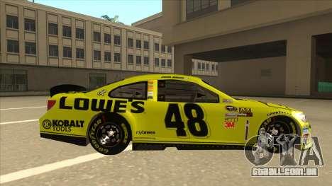 Chevrolet SS NASCAR No. 48 Lowes yellow para GTA San Andreas traseira esquerda vista