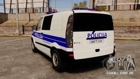 Mercedes-Benz Vito Croatian Police v2.0 [ELS] para GTA 4 traseira esquerda vista